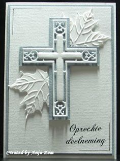 """'with sincere condolences"""" (must have directions translated) Confirmation Cards, Baptism Cards, First Communion Cards, Marianne Design Cards, Spellbinders Cards, Christian Cards, Beautiful Handmade Cards, Card Making Inspiration, Sympathy Cards"""