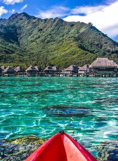 Kayaking around the turquoise waters of Moorea Lagoon - Moorea, French Polynesia #travel #tahiti #moorea #islands #paradise #kayak