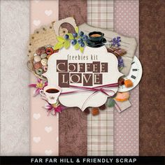 Freebies Kit - Coffee Love:Far Far Hill - Free database of digital illustrations and papers