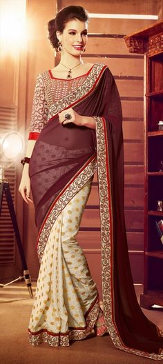 147145, Party Wear Sarees, Embroidered Sarees, Faux Georgette, Lace, White and Off White, Beige and Brown Color Family