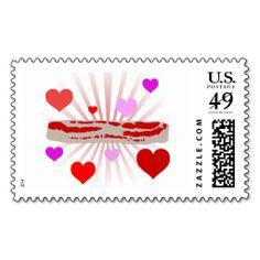 I Love Bacon - Bacon Loves You - Postage Stamp #ilovebacon #bacon
