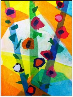 "The smARTteacher Resource: 3rd Grade ""April Flowers Bring May Tissue Paper Collage Flowers"""