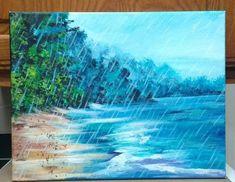Blue beach original painting, Beach Rain, 11 x 14 stretched canvas painting Beach Rain, Blue Beach, Texas Hill Country, Blue Bonnets, Seascape Paintings, Office Art, Christmas Art, Original Paintings, Stretched Canvas