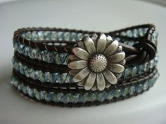 Green/Blue Bead and Leather Wrap Bracelet Flower by tinacdesigns, $30.00
