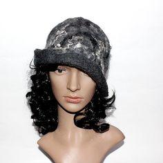 Felted Hat Cloche Felt Hat Gray Flapper, art hat, warm hat, womens hat, winter hat, curls, merino, unique hat