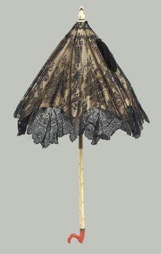 Black silk lace parasol  French (Paris), 1872