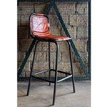 Factory bar stool with leather seat / Vintage bar stools from Andy Thornton