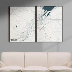 Belfast map print | 22-120€ | Different sizes | 32 color schemes | Free shipping within EU and USA   We love minimal design and minimal interiors. Our posters and prints will tell you that. We also love city maps. Cold schemes of this poster are perfect for cold interiors. Get if personalized if needed.  #cityposter #cityprint #wallart #walldecor #homedecor #homedesign #minimalisticwallart #moderninteriordesign #coldinterior #coldcolors Map Wall Art, Map Art, Poster Wall, Minimalist Poster Design, Minimal Design, Staircase Wall Decor, Simple Poster, Personalized Posters