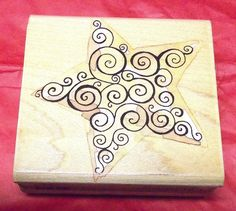 Penny Black 2194H Scroll Star rubber stamp Jahane Boden Spiers wood mounted  #PennyBlack #StarsShapes