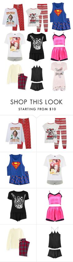 """Christmas Morning Pajamas"" by disneyfreaks39 ❤ liked on Polyvore featuring Topshop, Boohoo, Lands' End, Olivia von Halle and Chelsea Peers"