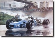 1968 Dutch Grand Prix - Jackie Stewart's Matra leads through Tarzan Hairpin on the way to a wet victory party. Michael Turner