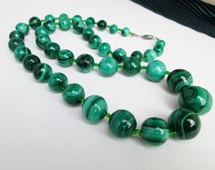 "1960s Large Graduated 9-18mm. Genuine Malachite Bead Necklace, 27"" long, Natural not Man Made, Strung in USA. $195.00 by TampicoJewelry"