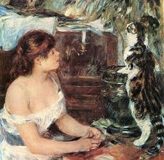 Girl and cat : Auguste Renoir Pierre Auguste Renoir, August Renoir, Renoir Paintings, Art Through The Ages, Great Works Of Art, Manet, French Artists, Famous Artists, Cat Art