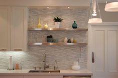 Lovely White Kitchen Backsplash Ideas for Your Kitchen Creation : Fascinating Horizontal Glass Tile White Kitchen Backsplash Ideas