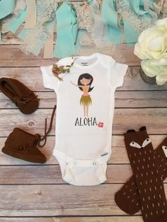 Aloha Baby Onesie® with Hula Girl! Adorable Tropical Baby Onesie® (or t-shirt)…