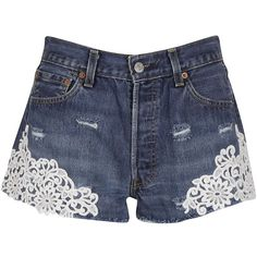 Forte Couture Shorts ($175) ❤ liked on Polyvore featuring shorts, denim blue, blue shorts, short jean shorts, distressed jean shorts, floral denim shorts and ripped shorts