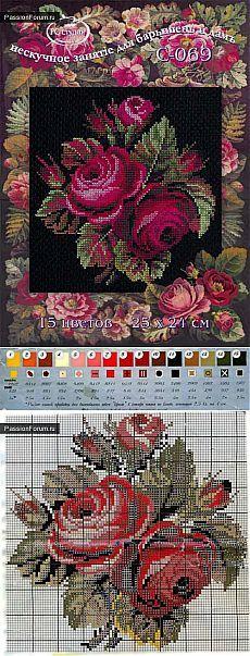 цветы / Схемы вышивки крестиком / PassionForum - мастер-классы по рукоделию, deep red cabbage roses