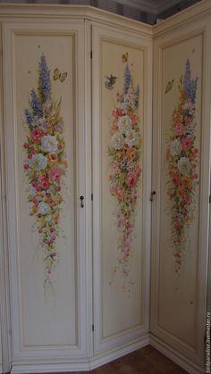 Wardrobe, bed, desk, chest of drawers, room divider, head and food boards all painted with this floral design.