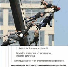 Stark Industries does really extreme trust building exercises