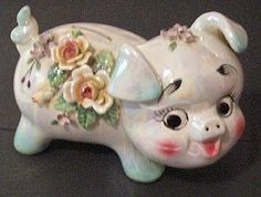 Gorgeous Pearl Lustre Norcrest China Pig Piggy Bank Pig Bank, Penny Bank, Money Box, Pigs, Kitsch, China, Banks, Pearl, Ornaments