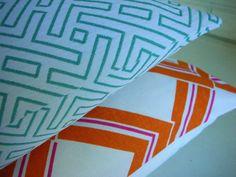 Decorative Pillow Cover Throw - Small Accent Lumbar - Mid Century Modern - Aqua White Geometric Jacquard 10 x16. $35.00, via Etsy.