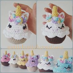 THE LISTING IS A PDF INSTANT DOWNLOAD CROCHET PATTERN ONLY, NOT A FINISHED PRODUCT Anyone for afternoon tea? Why not make some of your very own Lavender Unicorn Cupcakes (totally fat free ;) ) or turn them into a keepsake keyring. The finished cupcakes are roughly 4.5 tall and