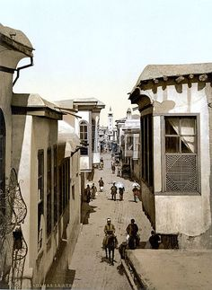 The street called straight, Damascus, Holy Land, (i. Antique Photos, Old Photos, Vintage Photos, Syria Before And After, Oriental, Alphonse Mucha Art, Asia City, Poster Prints, Art Prints