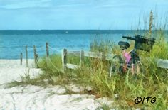 """Bicycle On The Beach      20"""" x 30"""" x 1 1/4""""   $120    Other Sizes Available."""