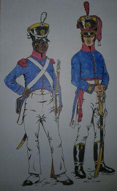 Provincias Unidas del Río de la Plata;  Ejército de los Andes. Bon. No. 8 de Infantería; de izq a der: sgto. 1ro. de fusileros, de gala fines de 1816 (por entonces la unidad aún era denominada Rgto. No 8); capitán de granaderos, de gala 1817 (otros LDArgañaraz).