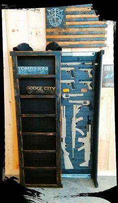 This Bookshelf is a must have for those that want to be prepared for any and all home defense situations that may arise This unit is composed of solid wood, no particle board, no MDF and NO PLASTIC Features include a fully functional accent bo - # Hidden Gun Storage, Weapon Storage, Secret Storage, Hidden Gun Safe, Gun Safe Diy, Rustic Furniture, Diy Furniture, Bedroom Furniture, Furniture Buyers