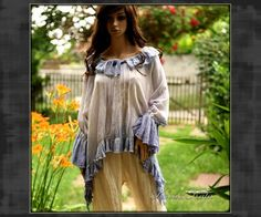 Lavender Hand Dyed Watercolor Romantic Poet Tunic Plus Size Lagenlook Bohemian Blouse Made to Order