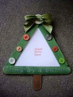 Paddle pop Christmas tree photo frame ornament craft