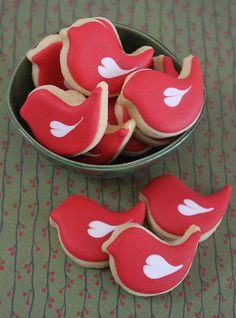Mini love bird cookies by Miss Biscuit