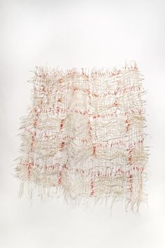 The first fibre produced by the silk worm is uneven and it's called kibiso. This woven fibre is another option to be used as a material to make shoes from. Southern Crossing Four / kiyomi iwata (via need supply co) Visual Arts Center, Uncommon Threads, Kinfolk Magazine, Textile Sculpture, Abstract Sculpture, Fibre And Fabric, Textile Texture, Fabric Manipulation, American Crafts