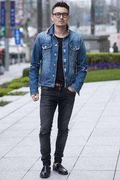 Xuhui District, SHANGHAI. Siko Lee, visual merchandising. Takeshy Kurosawa denim jacket, Donoo-1 T-shirt, H&M jeans, Prada shoes and belt, Chrome Hearts glasses. Photo Dave Tacon