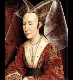detalle de retrato anónimo con tocado en forma de mariposa típicos de la Baja Edad Media.