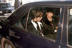Very rare pic of Prince and Mayte in back of automobile, 1997