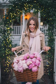 Gal Meets Glam Winter Bike Ride -Pure Cycle Pink Bike, Burberry trench, J.Crew sweater, J.Crew jeans & Mansur Gavriel bag