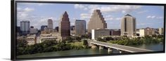 Canvas with Floating Frame entitled Austin Skyline w/ Town Lake Texas, Black