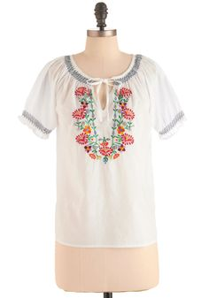 Cook-out for Style Top - Mid-length, Vintage Inspired, 70s, White, Multi, Embroidery, Short Sleeves