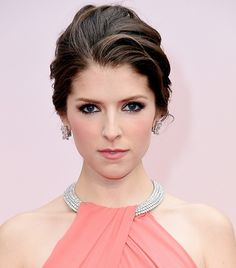 Anna Kendrick's petal pink lips and glam up-do at the 87th Oscars