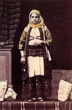 Woman of the upper social class in Attic dress. Photograph by Philippos Margaritis, c. Posted by Natalia Vogeikoff-Brogan. Posted by Vivian Florou. Greek Traditional Dress, Traditional Fashion, Traditional Outfits, Folk Clothing, Historical Clothing, Benaki Museum, Art Through The Ages, Social Class