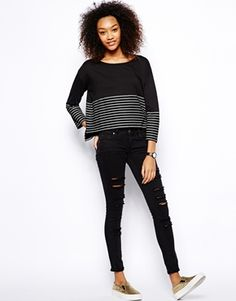 Enlarge Monki Exclusive Stripe Long Sleeve Top