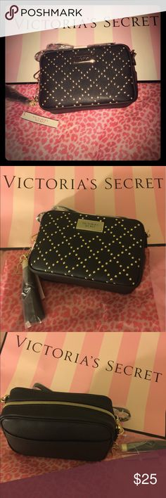 Black gold studded cross body purse Black gold studded cross body purse: has a pocket in the back for easy access for your phone, small perfect for going out.. has a gold heart and tassel Victoria's Secret Bags Crossbody Bags