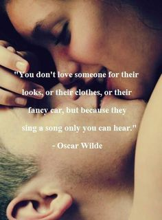 oscar wilde — 'You don't love someone for their looks, or their clothes, or for their fancy car, but because they sing a song only you can hear.' I love Oscar Wilde Cute Couple Quotes, Cute Quotes, Great Quotes, Quotes To Live By, Inspirational Quotes, Top Quotes, Motivational Quotes, Quotes Images, Cute Romantic Quotes