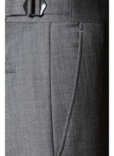 Contemporary Savile Row Tailors, Savile Row Bespoke, Custom-Made, Made-To-Measure Men's Suits | Richard James suit trousers, Half lined trousers, two side pockets, a back pocket, adjustable waist tags, a zip fly, Flat fronted, straight leg trousers, - www.richardjames.co.uk