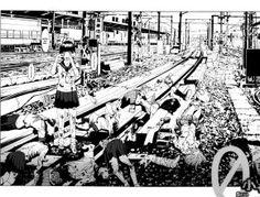 Jisatsu Circle é um manga escrito por Furuya Usamaru baseado no filme Clube do Suicídio .  A estória começa com dezenas de meninas se jogando na linha do trêm em movimento. Em meio a todo esse caos uma menina sobrevive...