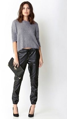 e172ddea12e6b Forever 21 Ultra Chic Faux Leather Joggers in Black - Lyst Leather Jogger  Pants