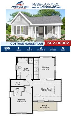 Get to know Plan a 550 sq. Cottage home design offering 1 bedroom, 1 bathroom, and an open floor plan. Sims House Plans, Small House Floor Plans, Cottage Floor Plans, New House Plans, Dream House Plans, Guest Cottage Plans, Small Cottage Plans, 1 Bedroom House Plans, Simple Floor Plans