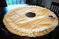 My Crazy Life: I Pinned It, I Did It: Ruffled Tree Skirt - No sew ruffled tree skirt - sew for Mom for Christmas